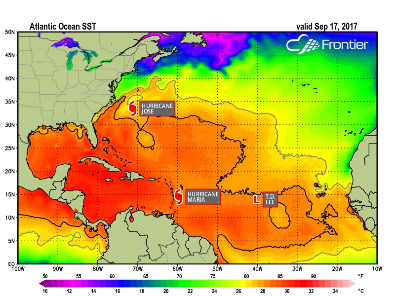 Sea Surface Temps - Sept 17, 2017