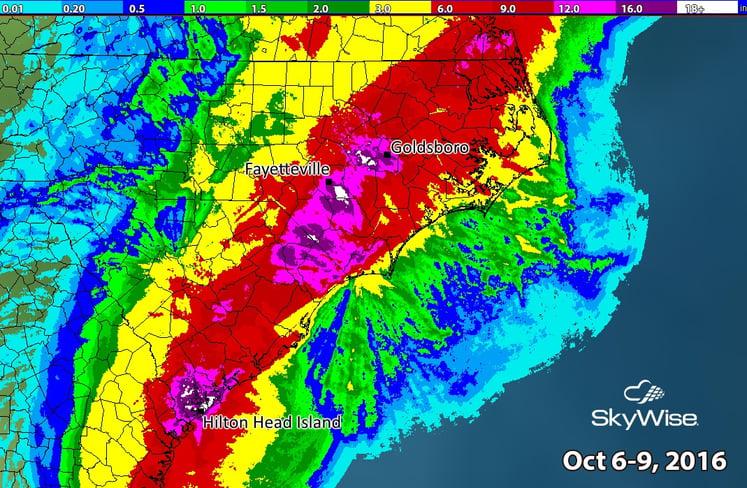 Rain Totals in the Carolinas