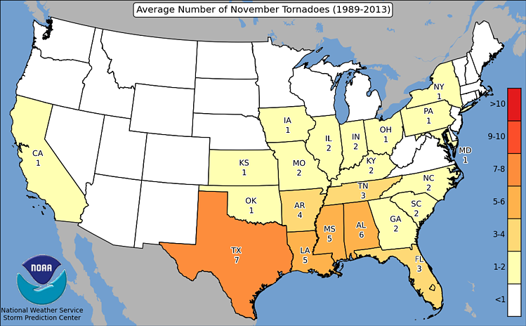SPC Average Number of Tornadoes in November