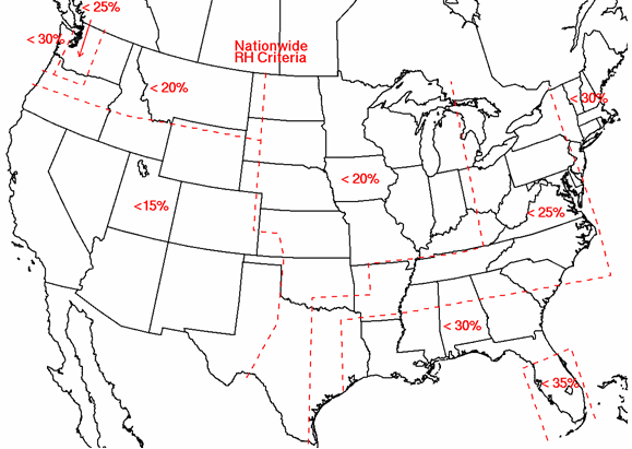 SPC Regional Relative Humidity Thresholds for Fire Weather