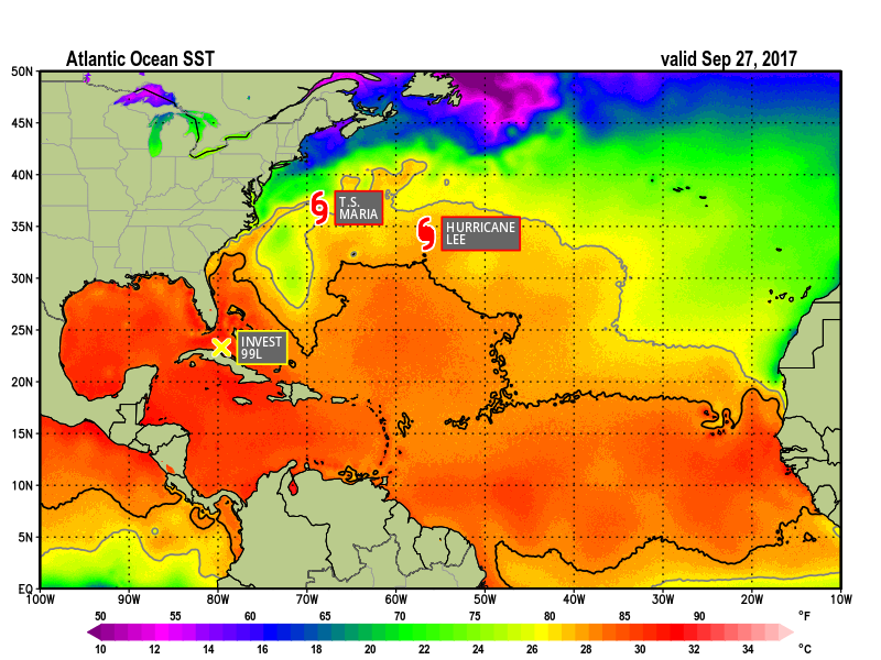 Sea Surface Tempertures -September 27, 2017