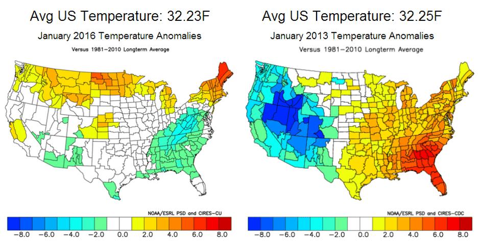 Temperature Anomolies between Jan 2016 and Jan 2013