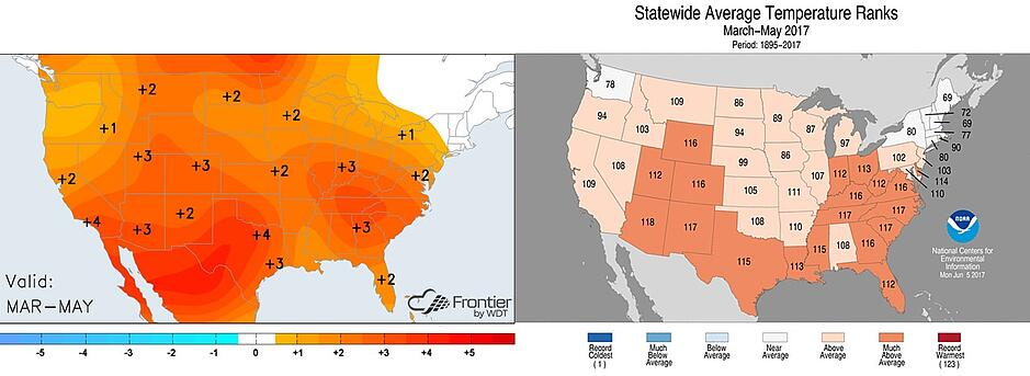 Left: Average temperature anomalies during the spring season. Right: Individual state rankings