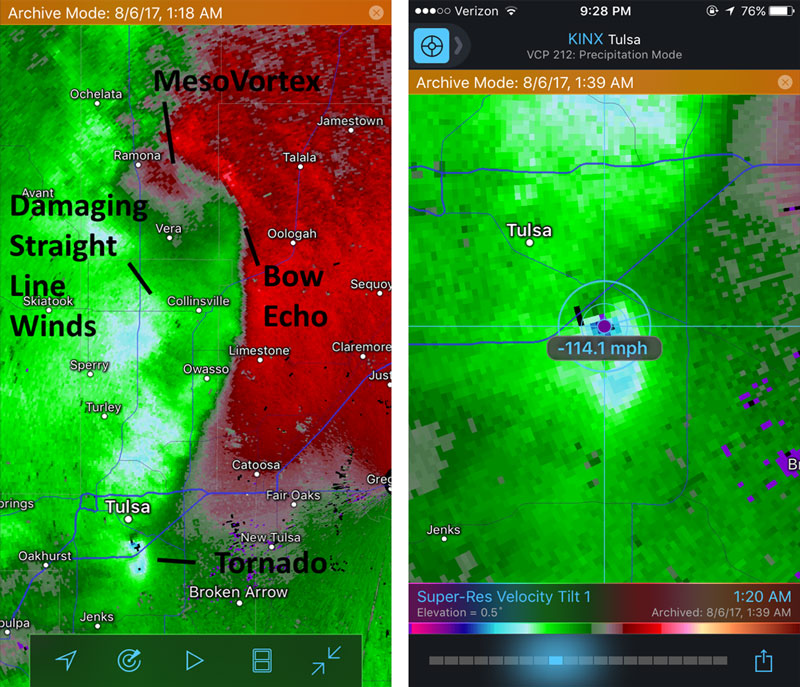 Velocity Data for First Tulsa Tornado on August 6, 2017