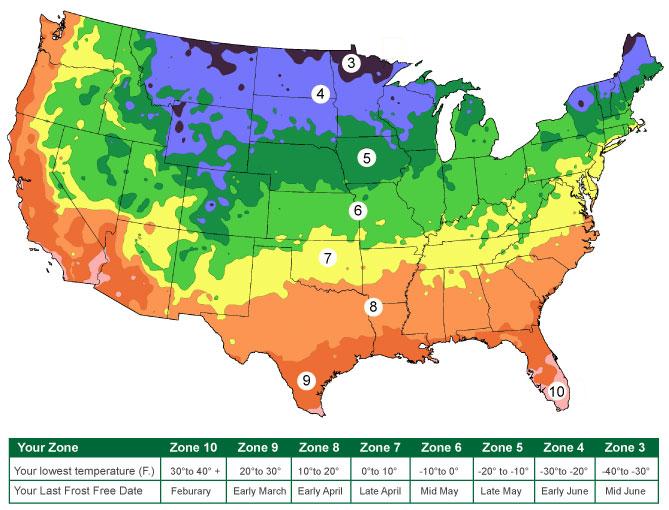 US Gardening Zones