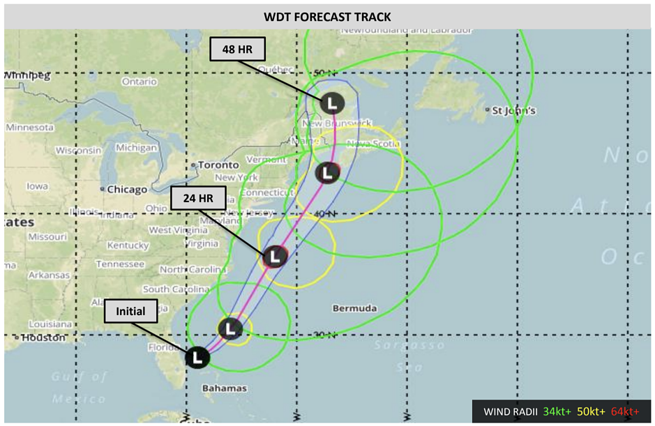 WDT Nor'easter Forecast Track