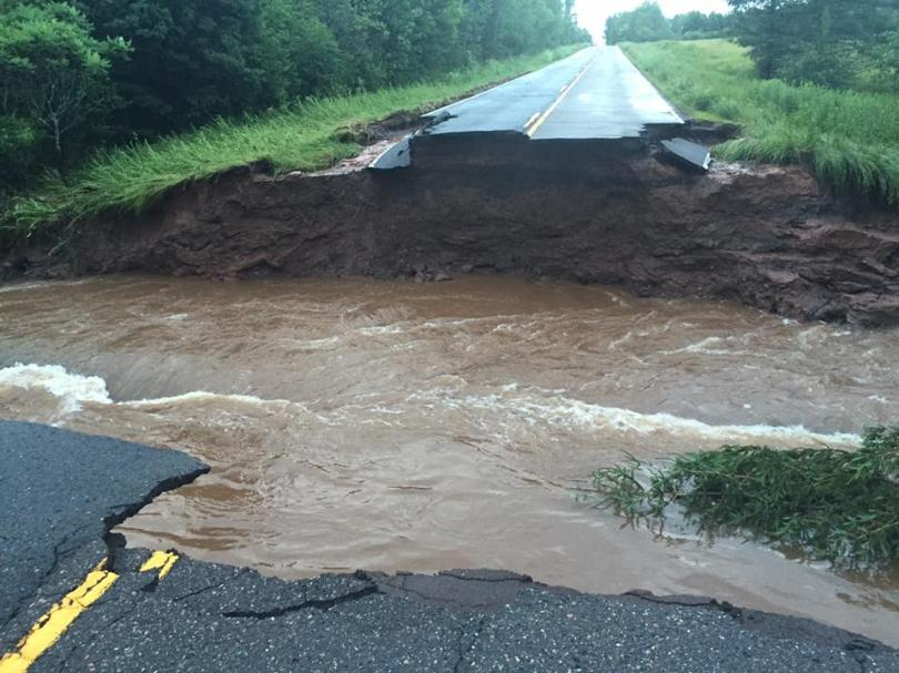 Road washed out in Ashland, Wisconsin