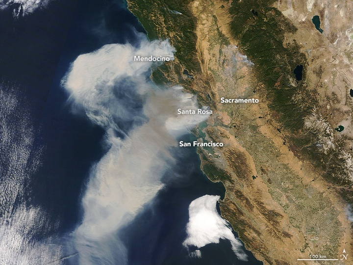 Smoke Shown on Visible Satellite - October 9, 2017