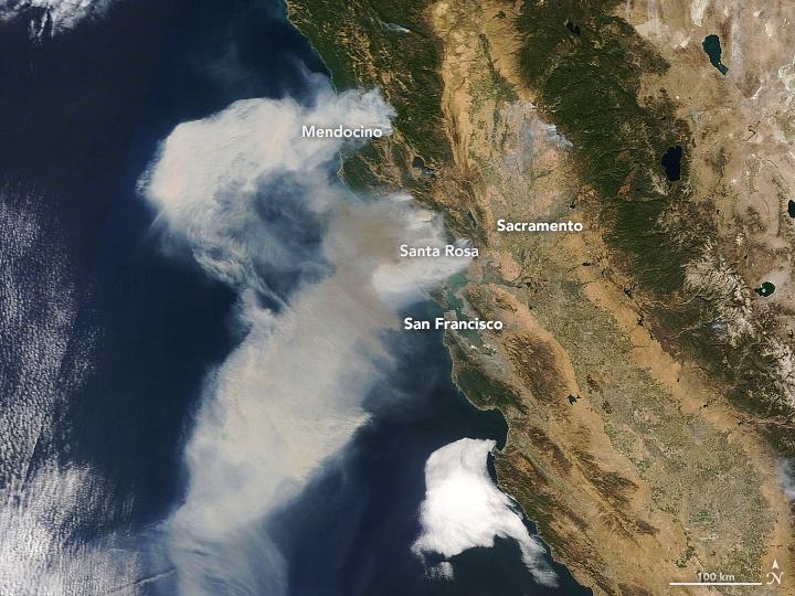 Smoke Shown on Visible Satellite - October 9, 2017