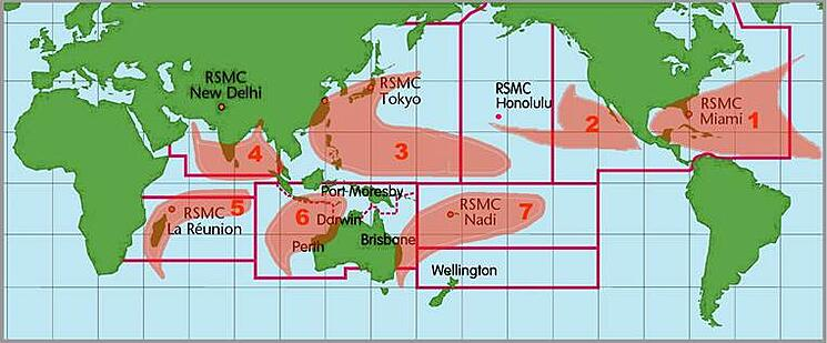 Typical locations for tropical cyclone development and the agencies responsible for them