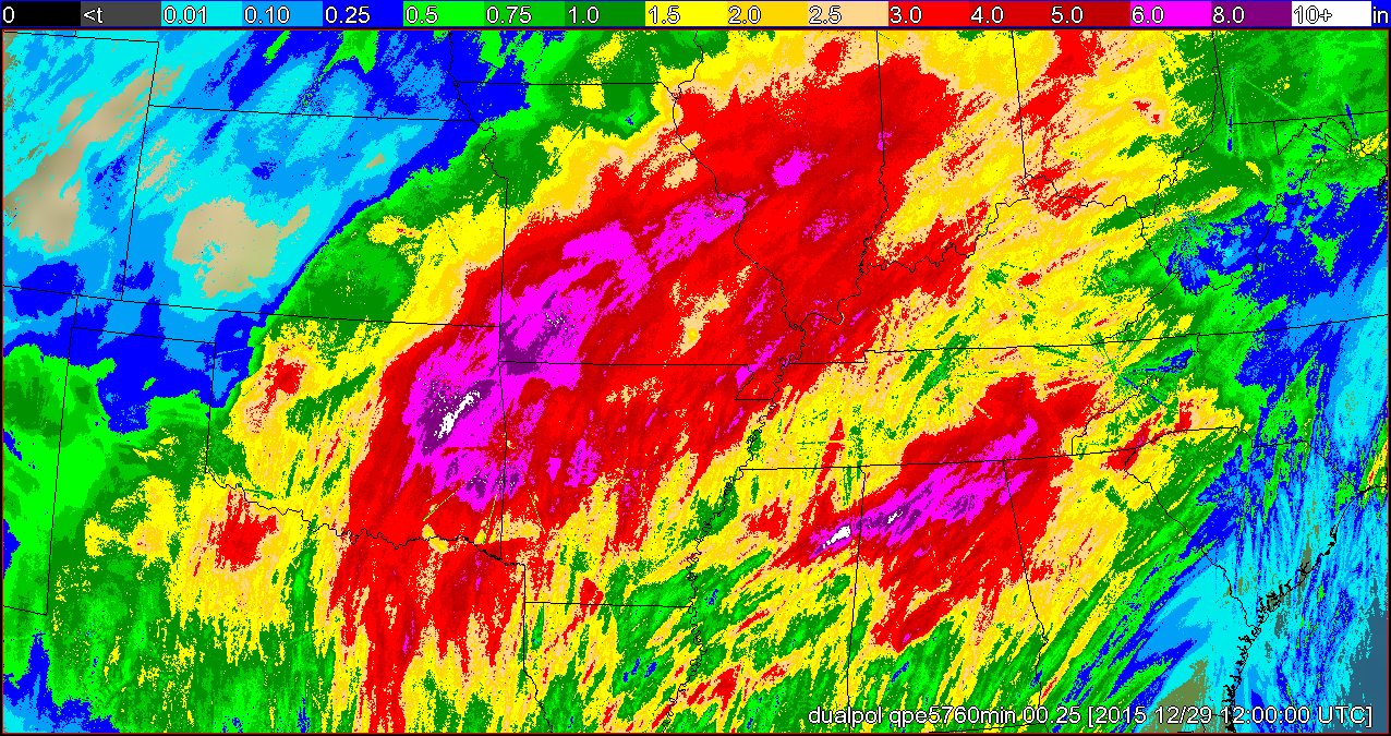WDT's radar-estimated precipitation for the the 96 hours ending at 6 am CST on Dec. 29, 2015