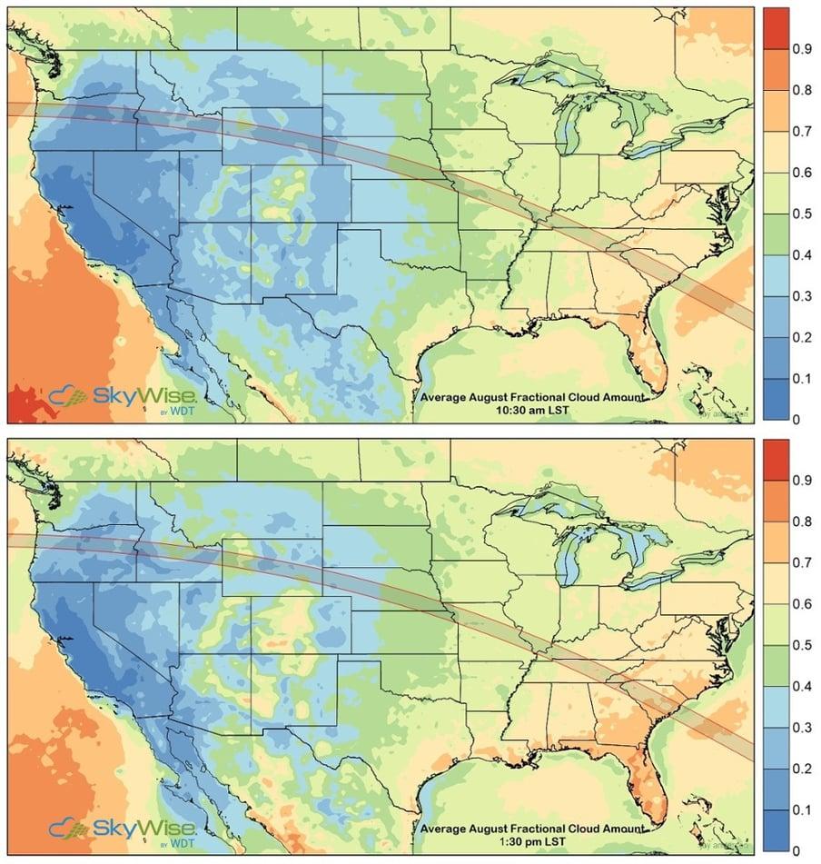 Average August Fractional Cloud Amount