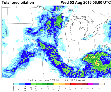 WDT WRF Total Precipitation through 1AM CDT Wednesday, August 3, 2016