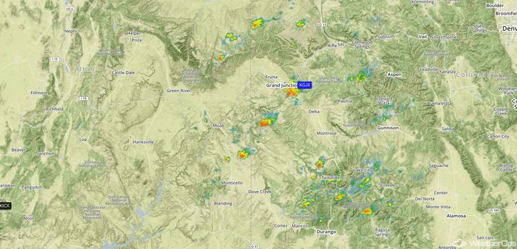 Western Colorado Radar 1:44pm CDT 8/8/16