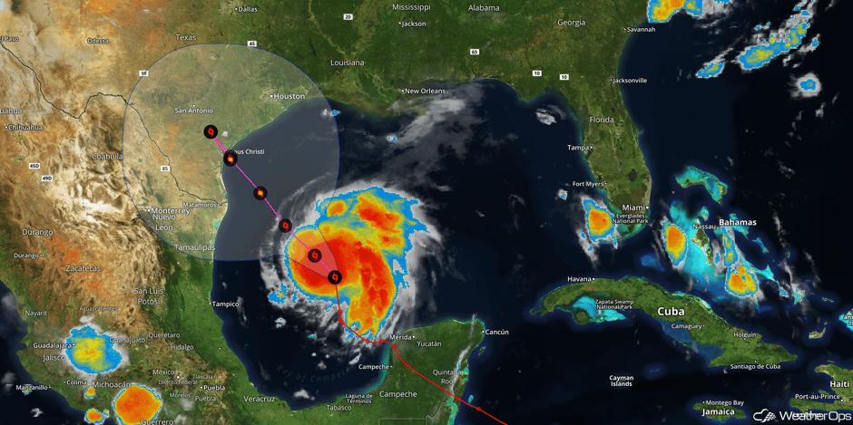 Harvey Satellite and Forecast Track 8/24/17