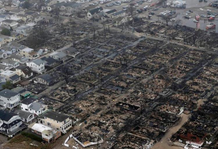 Fire Damage from Hurricane Sandy (credit: NY Daily News)
