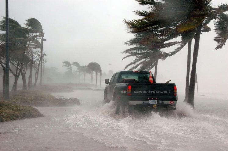 Truck in Hurricane Winds