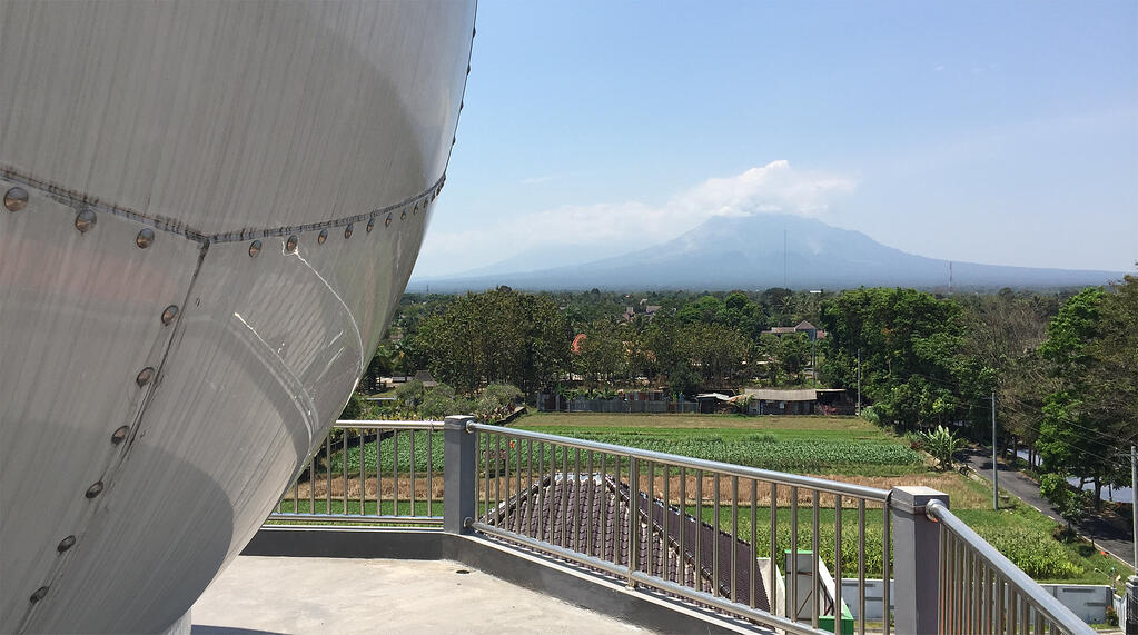 Active volcano Mount Merapi, as seen from the top of the Jogjakarta radar tower.
