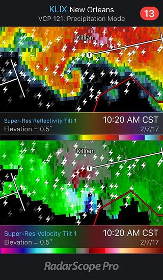 Killian Tornado seen on RadarScope