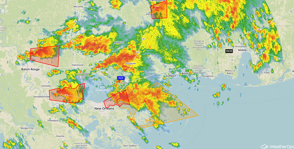 Tornado Warnings New Orleans 11:33am CST 2/7/17