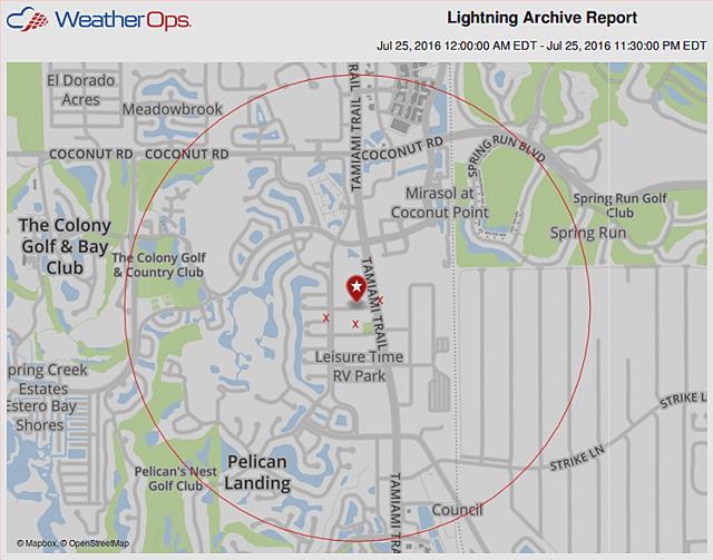 Map of Bonita Springs lightning