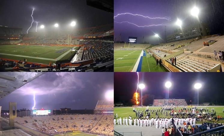 Lightning striking stadiums