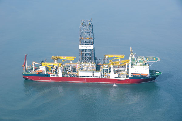 A Drill Ship with Dynamic Positioning  (Courtesy: bladeoffshore.com)