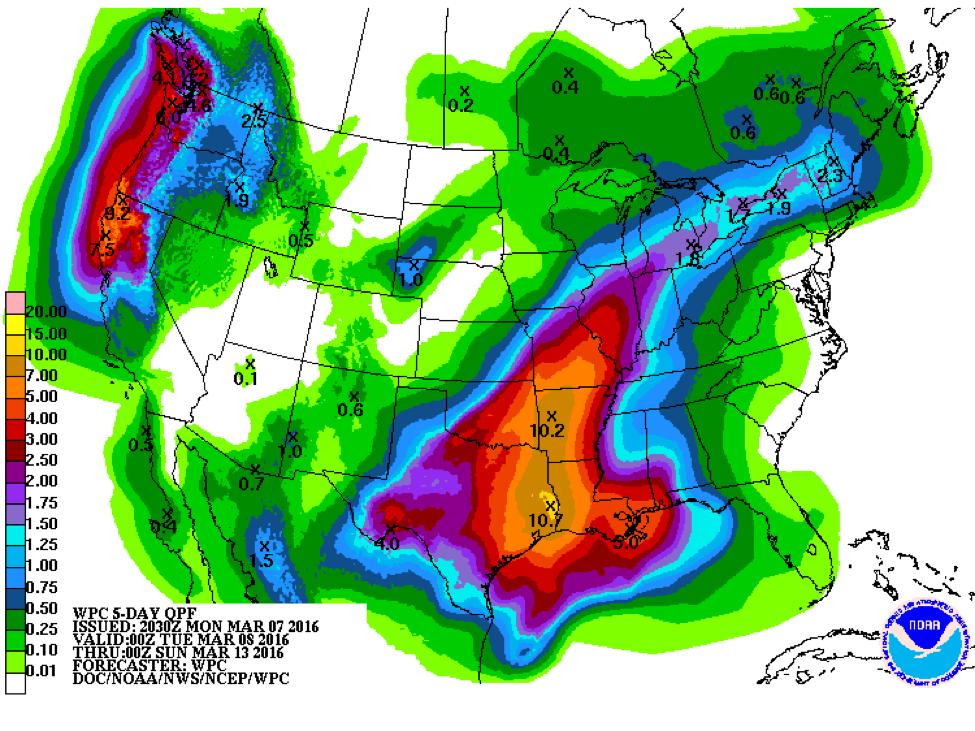 Precipitation Map from NOAA