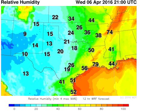 WDT WRF Relative Humidity 4pm CDT April 6, 2016