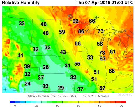 Relative Humidity 4pm CDT Thursday, April 7, 2016