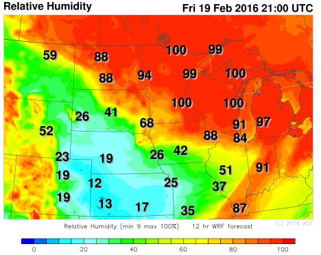 WDT WRF Relative Humidity Friday, February 19, 2016