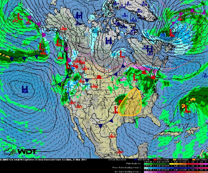 Severe Weather Threat for Monday, March 27
