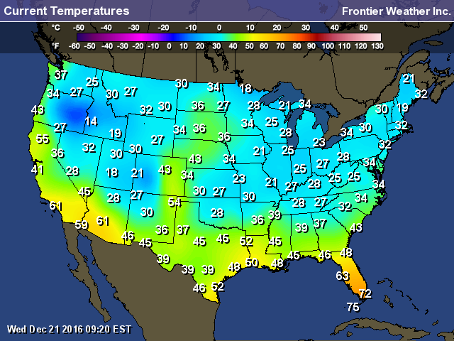 First Day of Winter Morning Temperatures