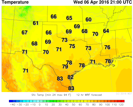 WDT WRF Temperatures 4pm CDT Wednesday, April 6, 2016