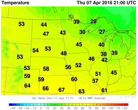 WDT WRF Temperatures 4pm CDT Thursday, April 7, 2016
