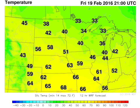 WDT WRF Temperatures 3pm CST Friday, February 19, 2016