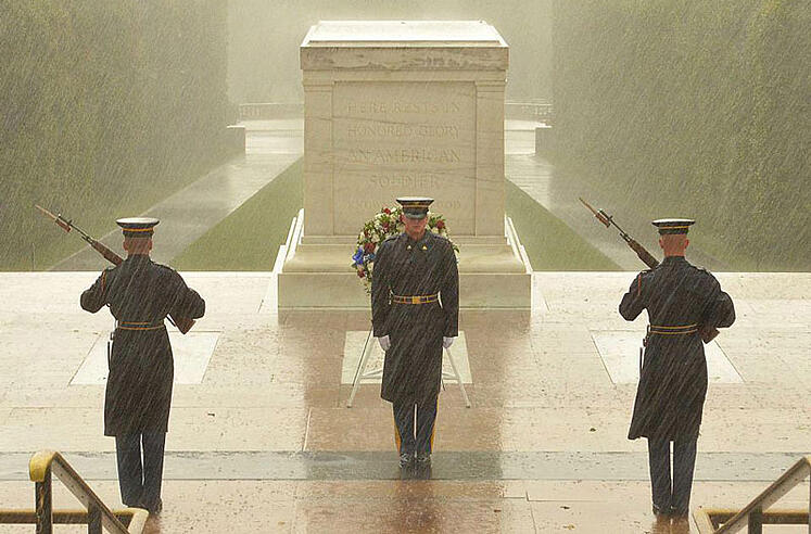 Guarding the Tomb of the Unknowns in the Rain