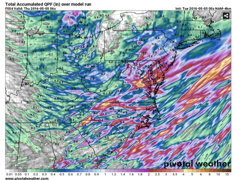 Total Precipitation through 2am EDT Thursday, May 5, 2016