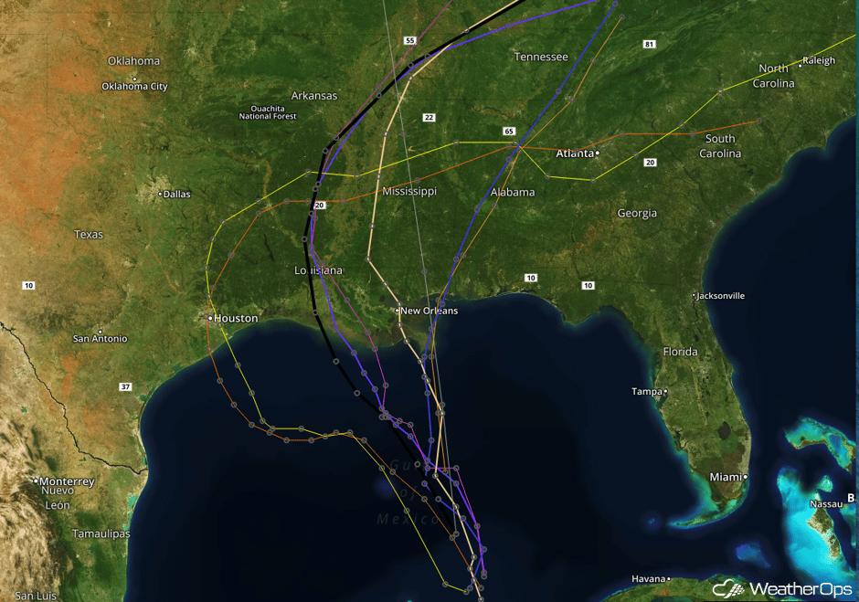 Tropical Storm Model Tracks- June 19, 2017
