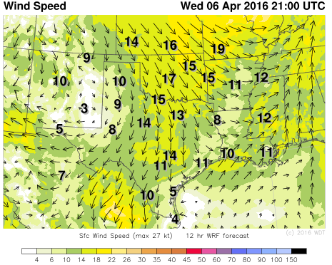 WDT WRF Winds 4pm CDT Wednesday, April 6, 2016