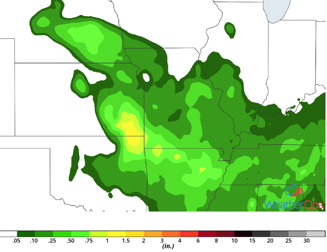 Rainfall Accumulation for Thursday, August 30, 2018