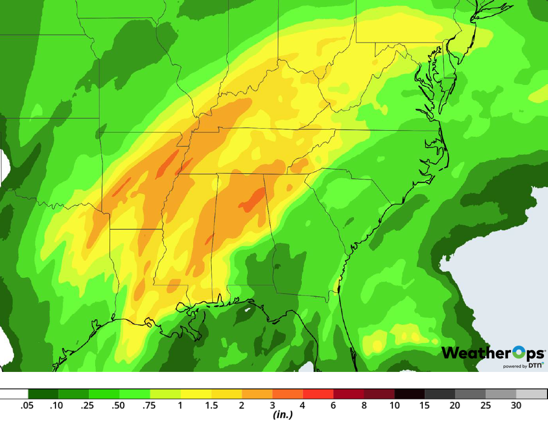 Rainfall Accumulation for February 19-20, 2019