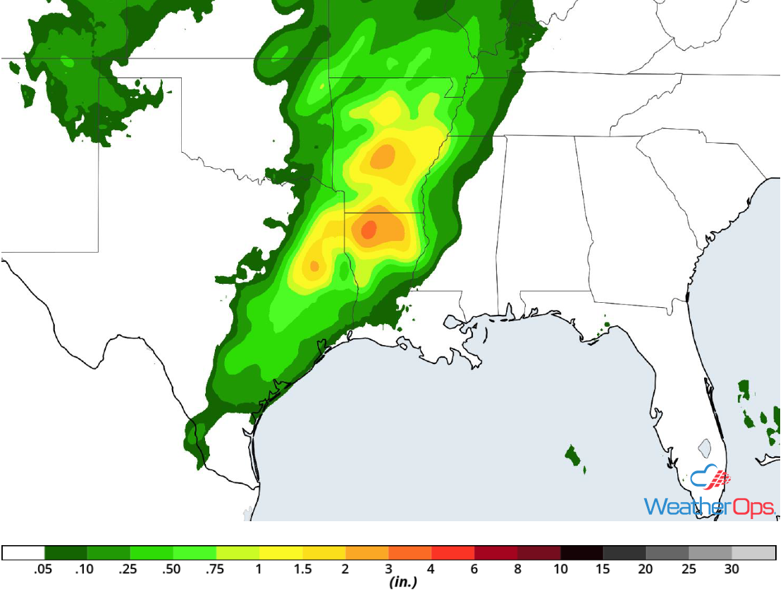 Rainfall Accumulation for Friday, April 13, 2018