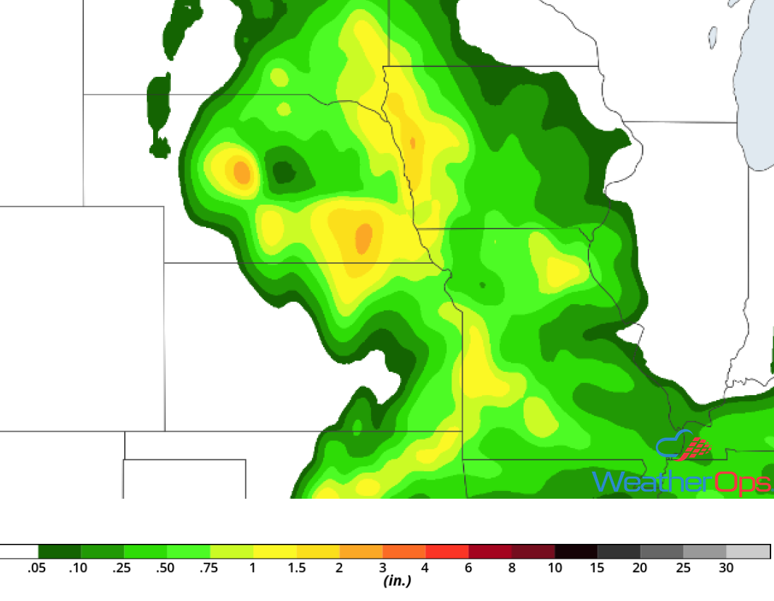 Rainfall Accumulation for Monday, June 25, 2018