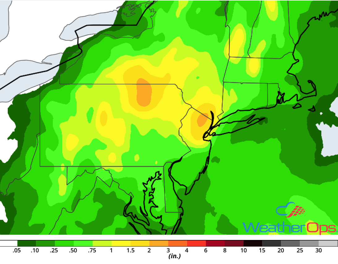 Rainfall Accumulation for Monday, August 13, 2018