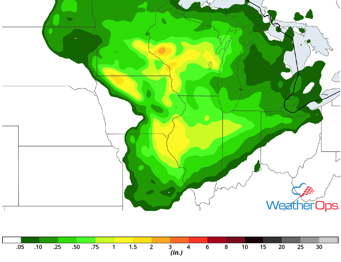 Rainfall Accumulation for Friday, August 24, 2018