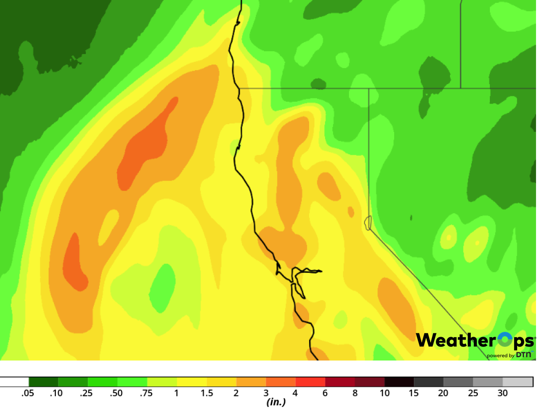 Rainfall Accumulation for February 1-2, 2019