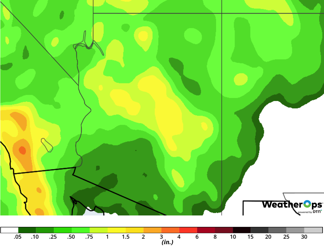Rainfall Accumulation for Thursday, February 14, 2019