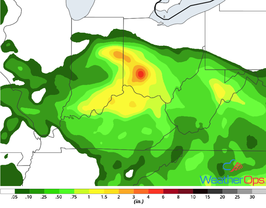 Rainfall Accumulation for Monday, June 11, 2018
