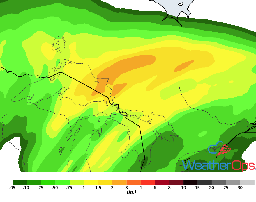 Rainfall Accumulation for Wednesday, October 10, 2018